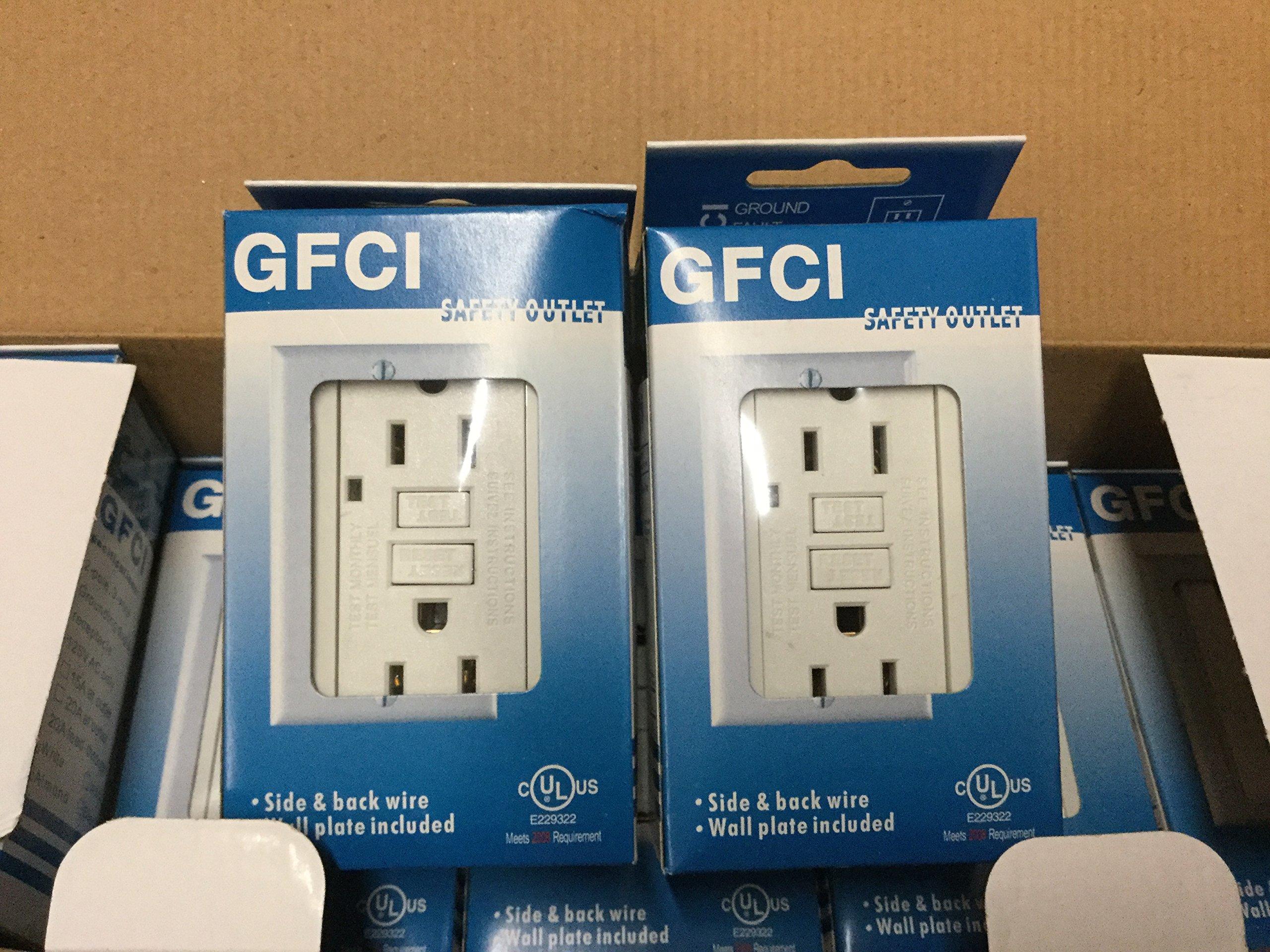 Gfi Gfci Outlet 15 Amp 120 V White Color, 100 Pack