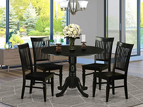 DLWE5-BLK-W 5 PC small Kitchen Table set – Table and 4 Dining Chairs
