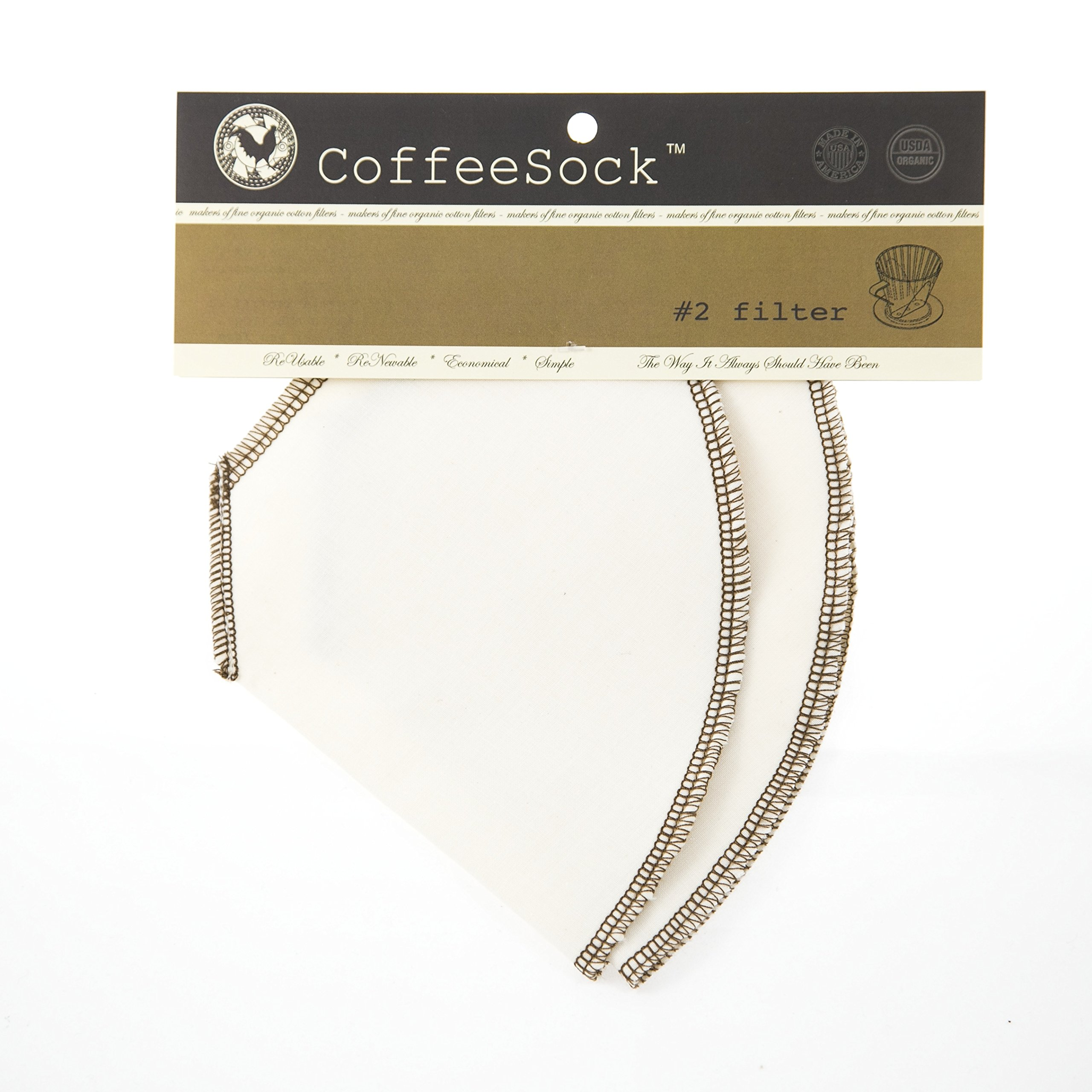 CoffeeSock Drip #2 Cone- GOTS Certified Organic Cotton Reusable Coffee Filters