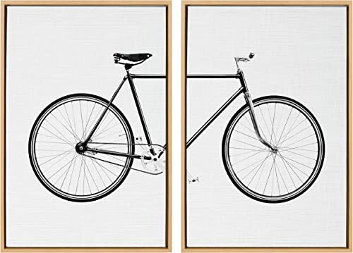 Kate and Laurel Sylvie Bicycle Framed Canvas Wall Art
