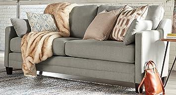 Amazon Com Serta Carmina Sofa Chenille Fabric Gray Kitchen Dining