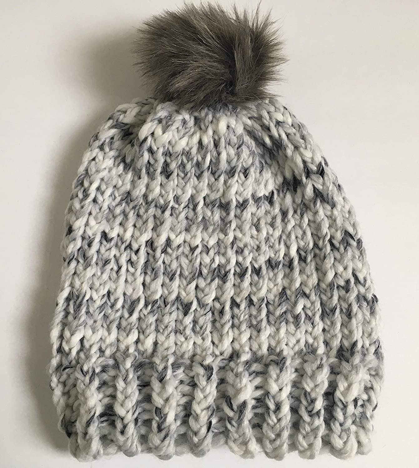 66eecae9a5319 Gray Marble Knit Hat with Faux Fur Pom Pom Request a custom order and have  something made just for you. This seller usually responds within 24 hours.