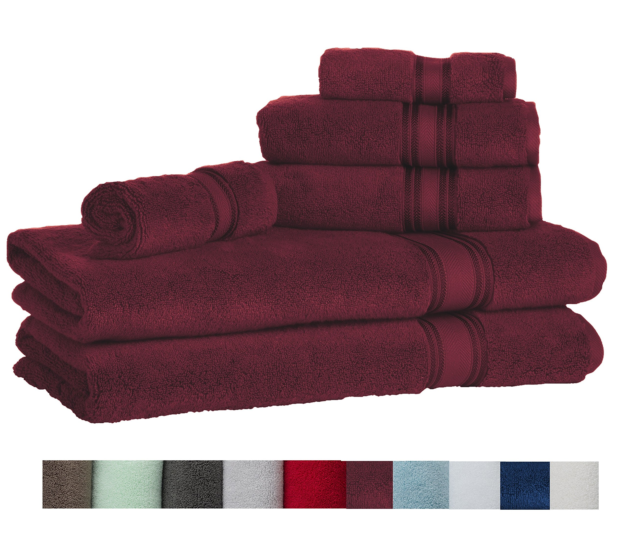Casa Lino Quick Dry Super Zero Twist 6 Piece Bath Towel Set 7 Star Hotel Luxury Collection, 2 Bath Towel 28x54'', 2 Hand Towel- 16x28'', Face Towel- 13x13'' (burgundy) by Lezeth Collection