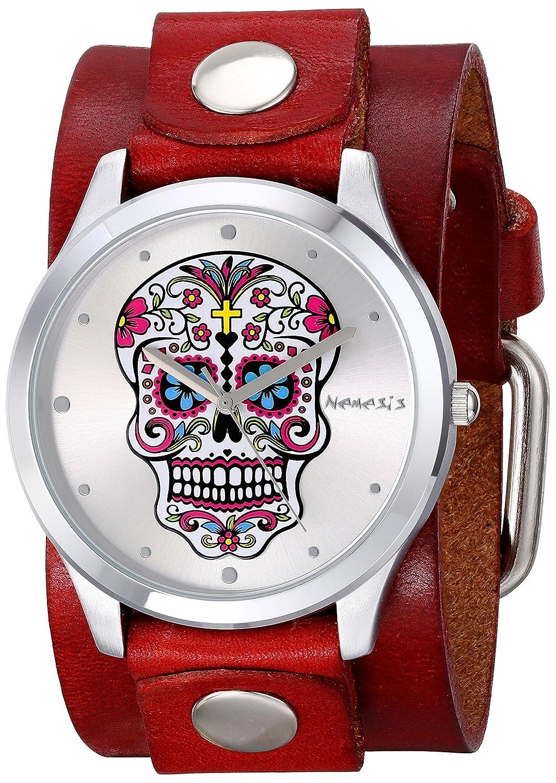 Nemesis Women s 925RGB Sugar Skull Series Analog Display Japanese Quartz Red Watch