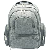 Casa & Family Diaper Bag - Multi-Function Portable Waterproof Nappy Large Backpack For Travel With Baby - Stroller Straps, Changing Mat, Insulated Pockets - Unisex Men & Women-Stylish Cute Design-Grey