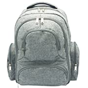 Diaper Bag - Multi-Function Portable Waterproof Nappy Large Backpack For Travel With Baby - Stroller Straps, Changing Mat, Insulated Pockets - Unisex Men & Women-Stylish Cute Design-Grey