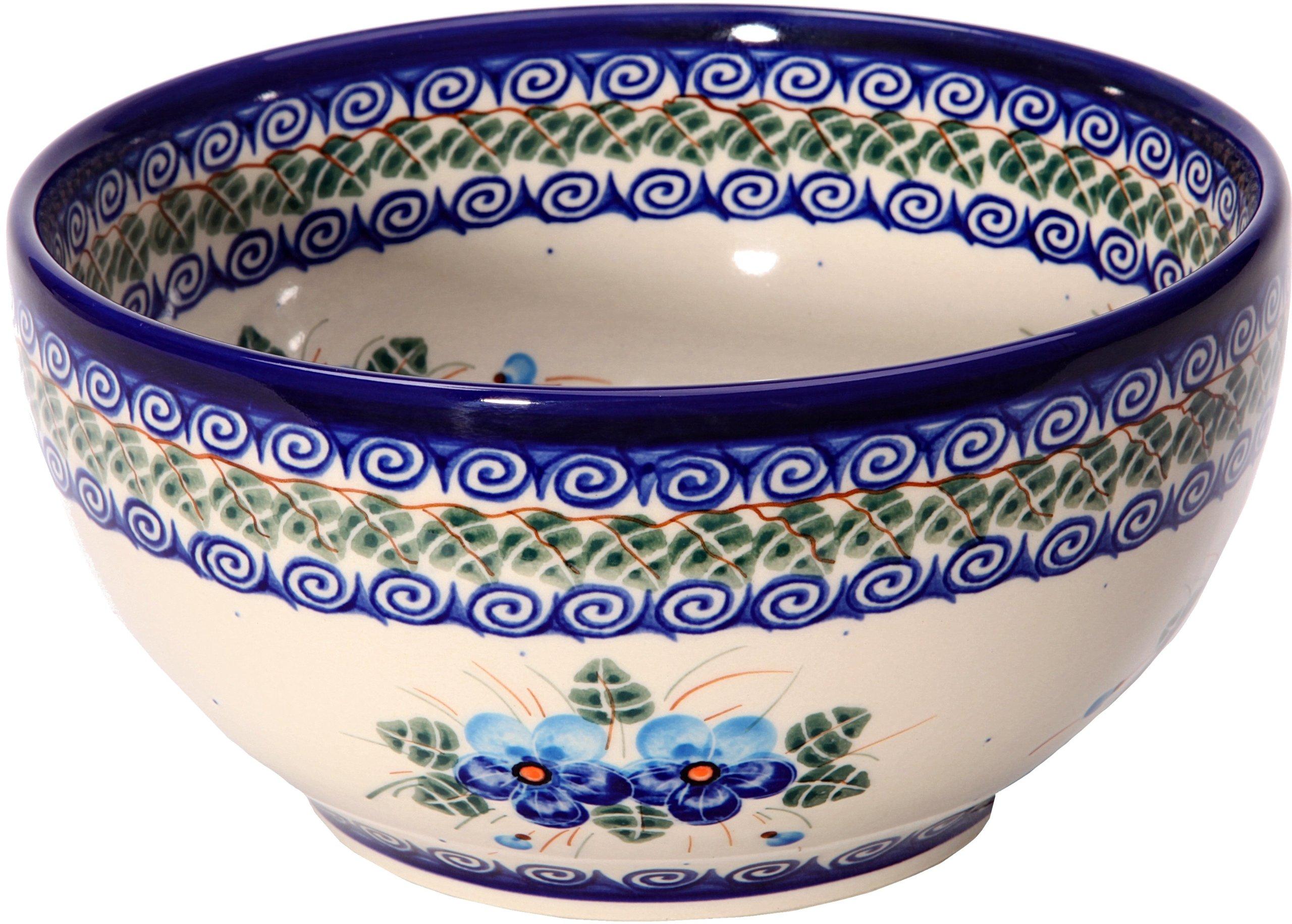 Polish Pottery Ceramika Boleslawiec, 0410/162, Bowl 19, 5 1/4 Cups, Royal Blue Patterns with Blue Pansy Flower Motif by Polish Pottery Ceramika Boleslawiec