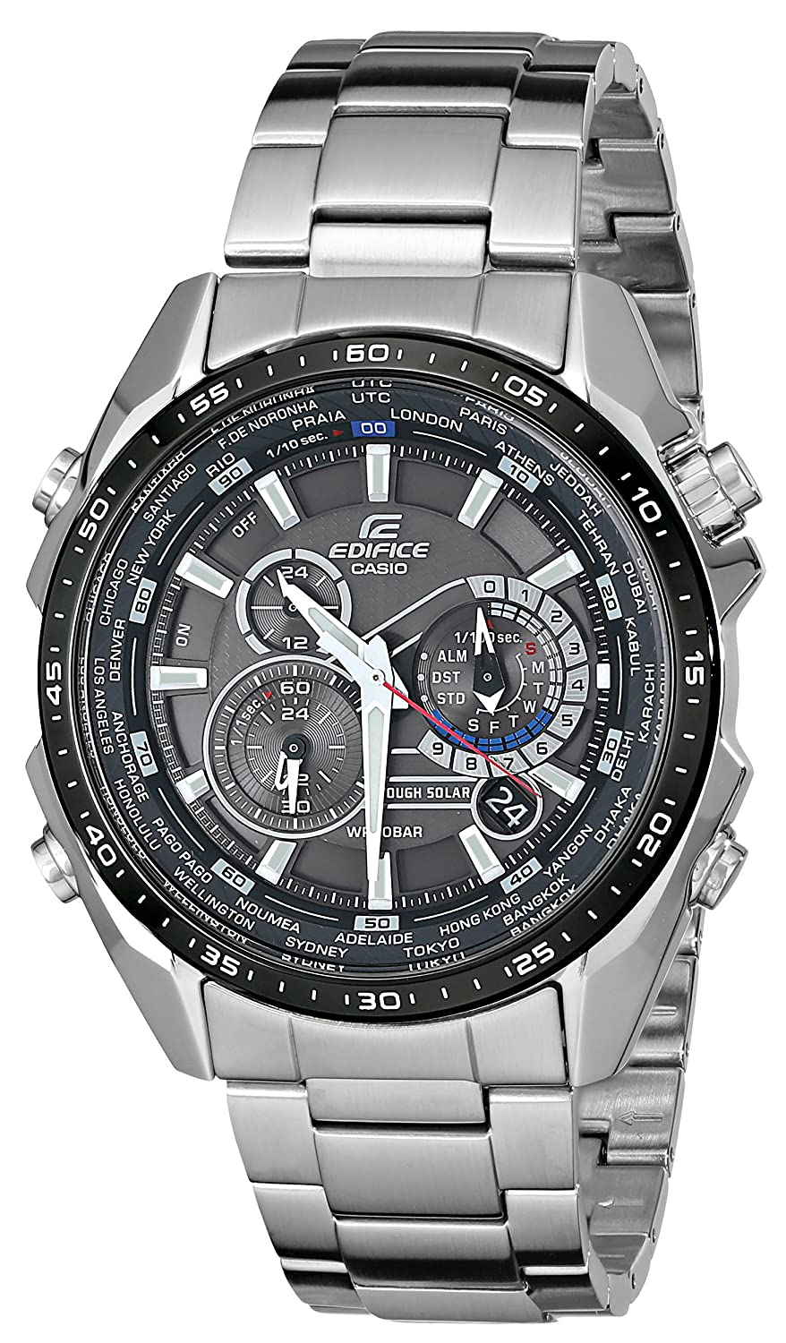 Casio Men's Steel Function Watch Edifice Bracelet Eqs500db Solar With Link Stainless Multi Tough 1a1 jLAR45