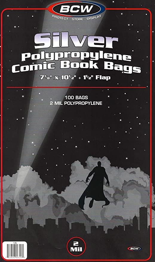 50 BCW Silver Age Comic Book Mylar Bags Sleeves 2 mil High Quality Archivals