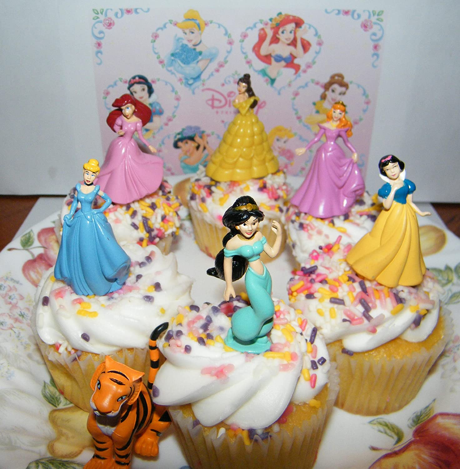 Amazoncom Disney Princess Set of 7 Cake Toppers Cupcake Toppers