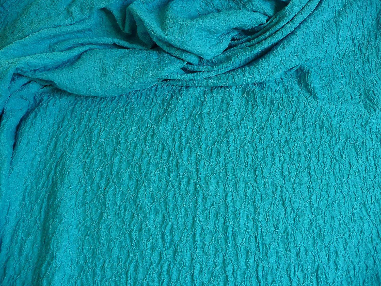 Jersey, mezcla de tejidos, algodón Elastano Metro gesmokt 144 cm turquesa: Amazon.es: Hogar