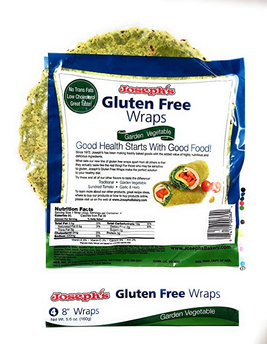 amazon com joseph s gluten free wraps sundried tomato 4 tortillas