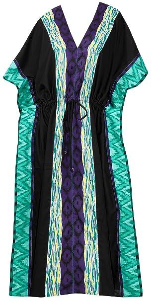 LA LEELA Halloween Costume rayón Traje de baño de la Playa Ropa de Dormir Digitales caftán Kimono más el Vestido caftán tamaño de Las Mujeres 21_pv_Black: ...