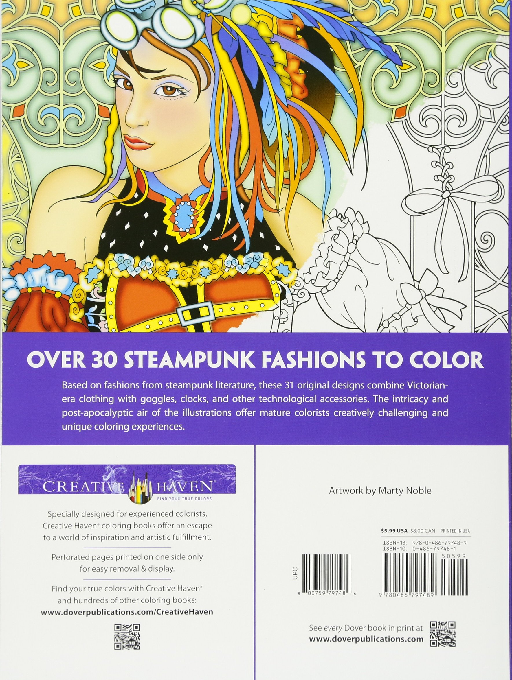 Creative Haven Steampunk Fashions Coloring Book Amazonca Marty Noble Books