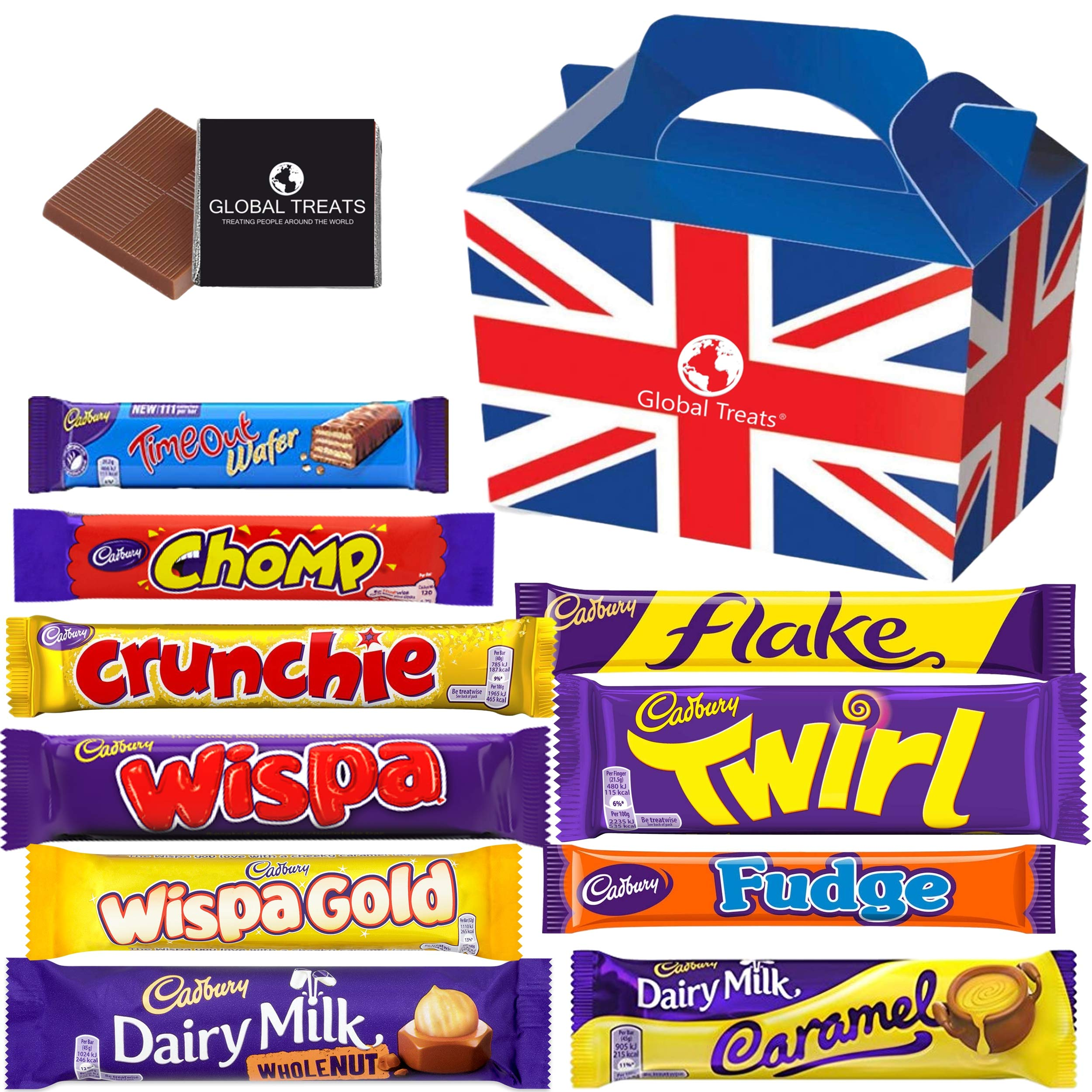 Cadbury Chocolate Gift Pack Medium - 10 FULL SIZE Chocolate bars of delicious Cadbury Chocolate from the UK with unique Gift Box and a free Global Treats Choc & Pen