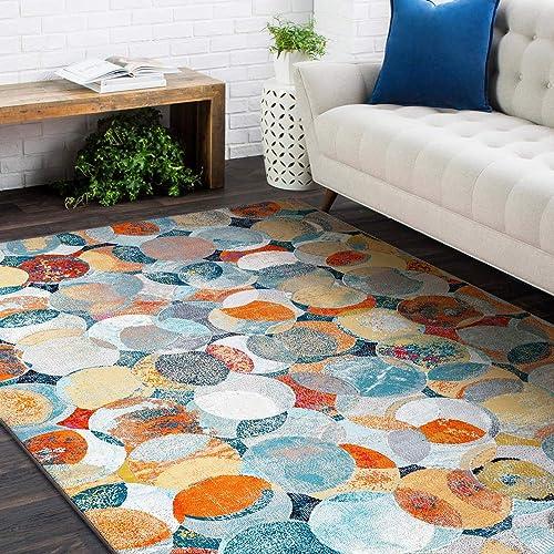Decomall Area Rug Modern Geometric Rug for Living Room Bedroom Abstract Home Decor Floor Carpet Indoor Blue-Rust Waltz 8×10 Rug