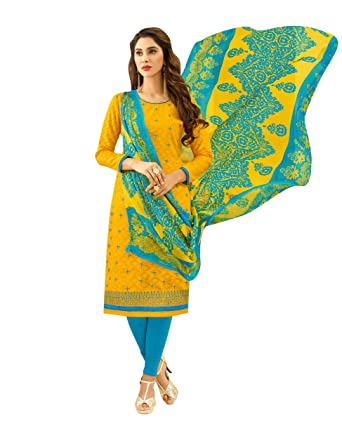 6af45dc817 SB Fashion Ready to Wear Designer Yellow Colored Cotton Jacquard  Embroidered Salwar Suit. (Yellow