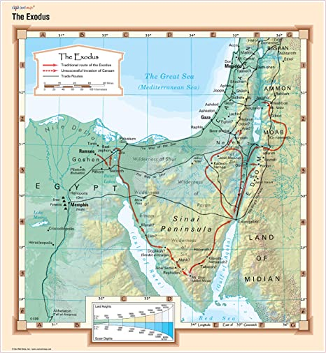 Amazon.com: COOL búho Mapas – El mapa Exodus – Biblia Pared ...