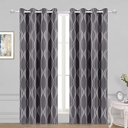 WONTEX Geometric Trellis Printed Thermal Insulated Blackout Curtains, Grommet Room Darkening Curtains for Living Room and Bedroom, Set of 2 Curtain Panels, 52 x 84 inch, Khaki