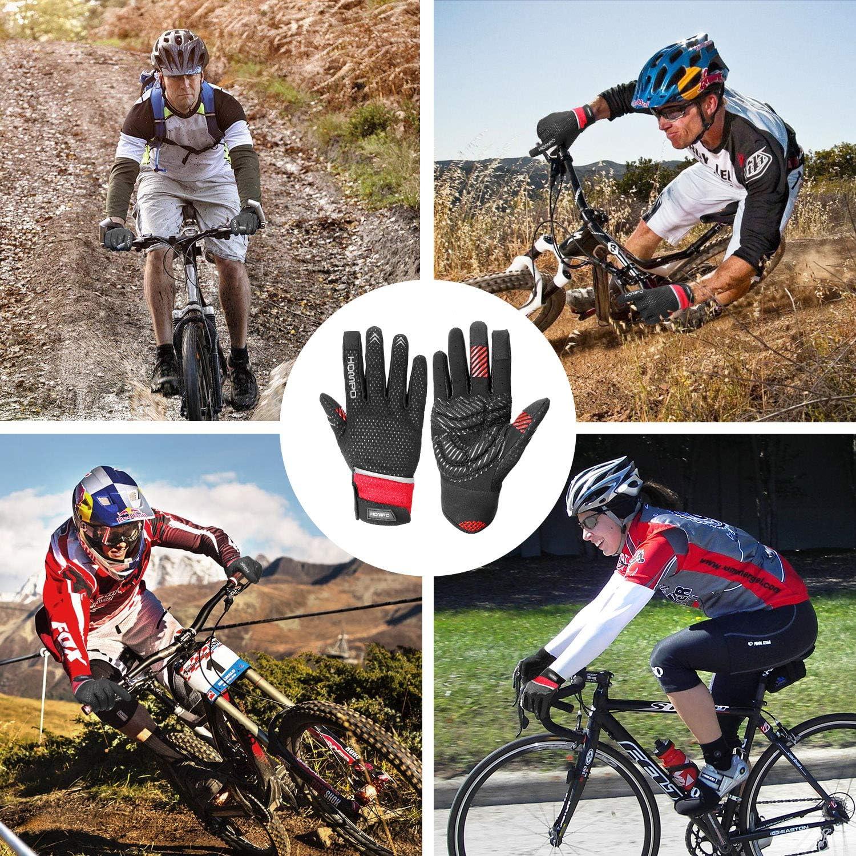 HOMPO Guantes de Ciclismo Deportivos Guantes de Bicicleta Dedo Completo con 5mm Amortiguadores Pantalla T/áctil C/álido Prueba de Viento y Respirable