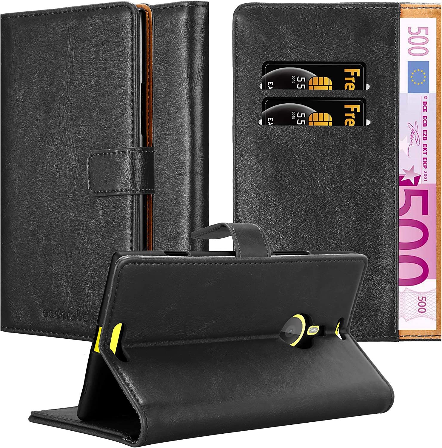 Cadorabo Book Case Compatible with Nokia Lumia 1520 in Graphite Black - with Magnetic Closure, Stand Function and Card Slot - Wallet Etui Cover Pouch PU Leather Flip