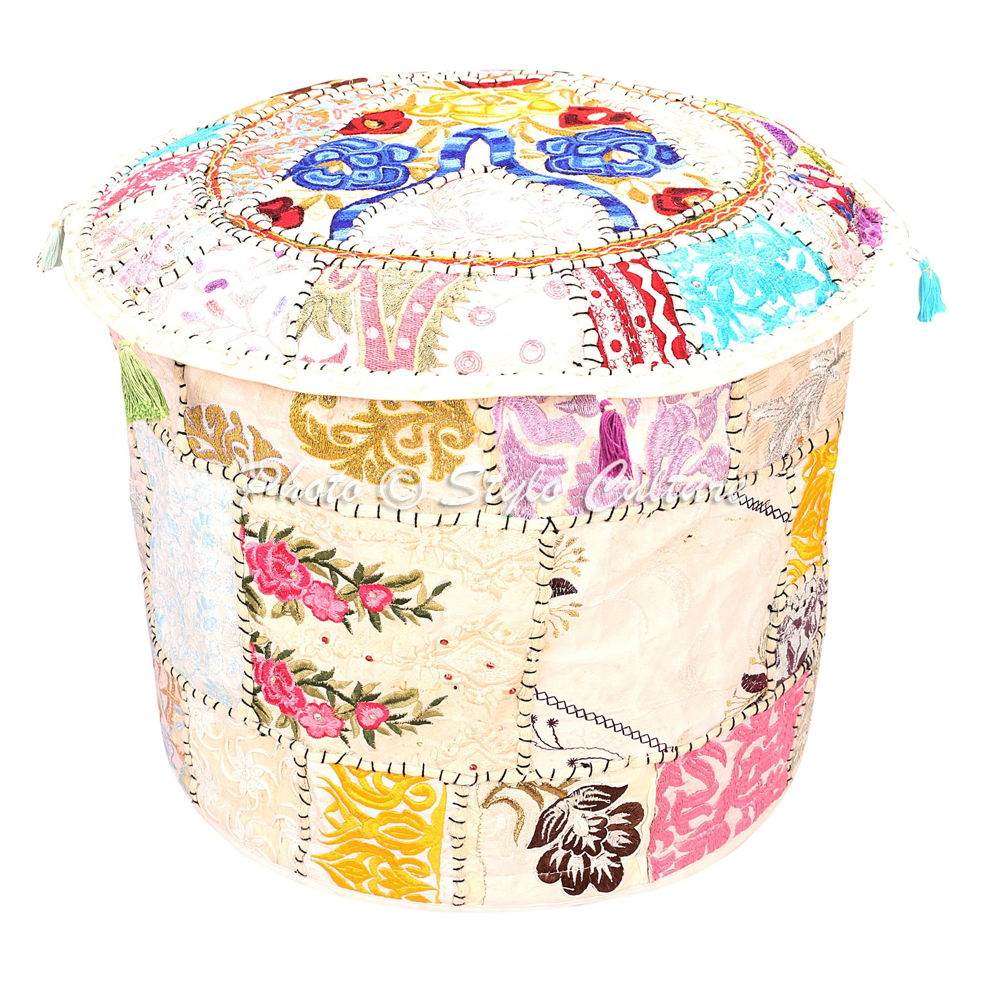 Stylo Culture Bohemian Round Pouf Ottoman Cover Indian Patchwork Embroidered Pouffe Ottoman Cover White Cotton Floral Traditional Furniture Footstool Seat Foot Rest Puff Cover (18x18x13)