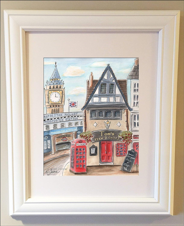 London Nursery Personalized Art Print Big Ben Travel Themed Boys Wall Art Fish /& Chips Shop Paddington Bear Theme