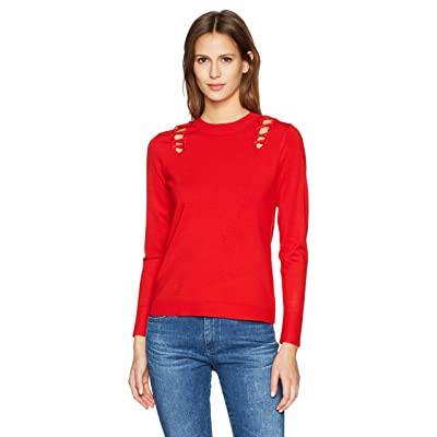 525 America Women's Crew Neck Laced Shoulder Detail Sweater at Women's Clothing store