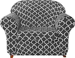 subrtex Sofa Slipcovers Arm Stretch Couch Settee Slip Protector Loveseat 2-Piece Spandex Printing Sleeper Furniture Cover Home Decor for LivingRoom(Chair,Grey)