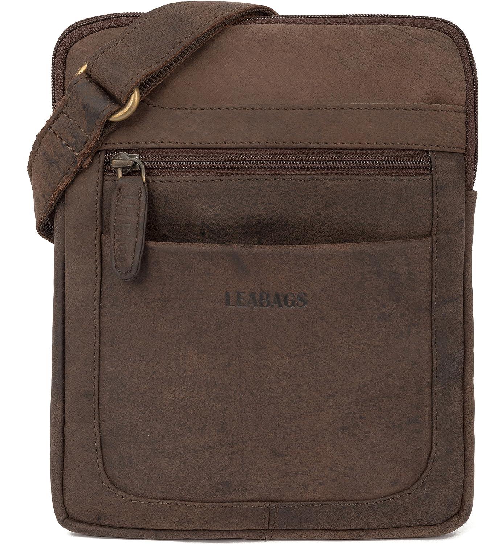 LEABAGS Detroit Umhängetasche aus echtem Büffel-Leder im Vintage Look - Braun Detroit - brown