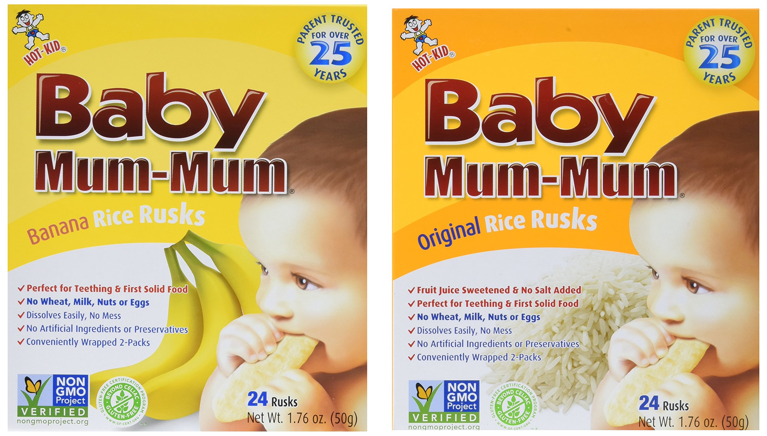 Hot-Kid Baby Mum-Mum Rice Rusks, 2 Flavor Variety Pack, 24 Pieces (Pack of 4) 2 Each: Banana, Original Gluten Free, Allergen Free, Non-GMO, Rice Teether Cookie for Teething Infants by Hot Kid