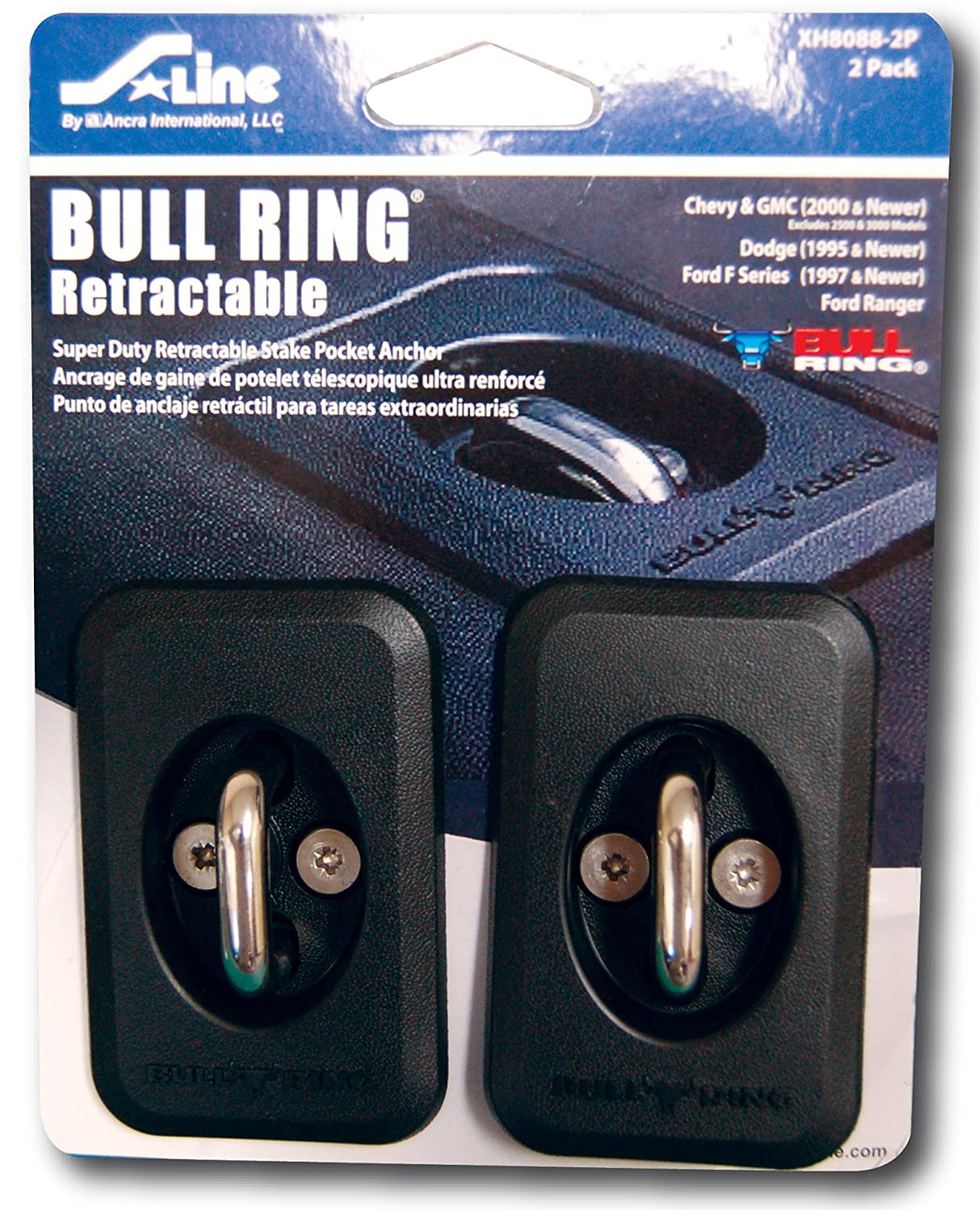 2-Pack Ancra S-Line XH8088-2P Bull Ring Retractable Stake Pocket Anchor