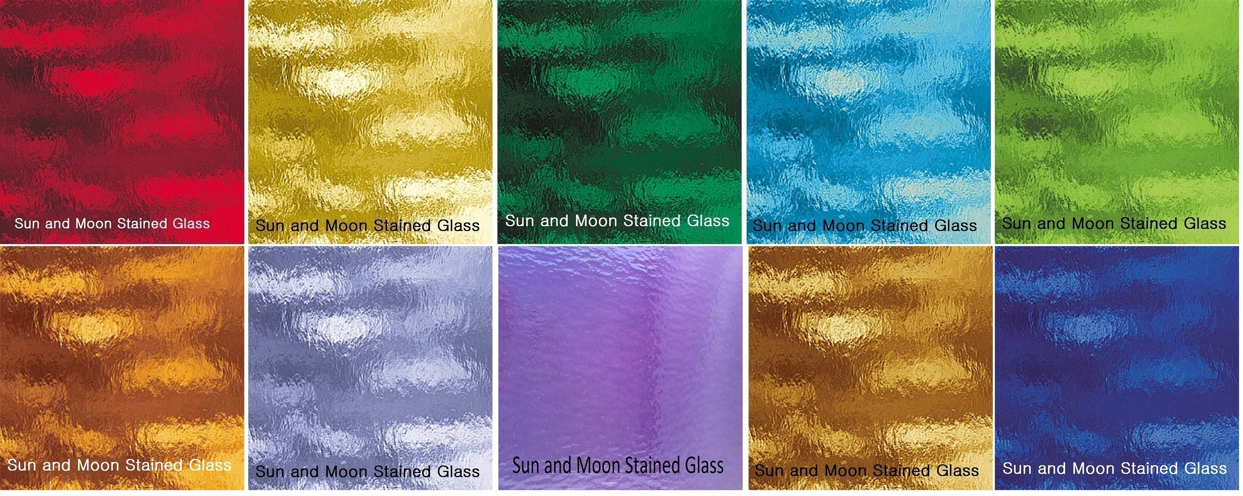 10 Sheets- Spectrum Stained Glass Pack - Rough Rolled Glass Collection (8''x5'') by Sun and Moon Stained Glass