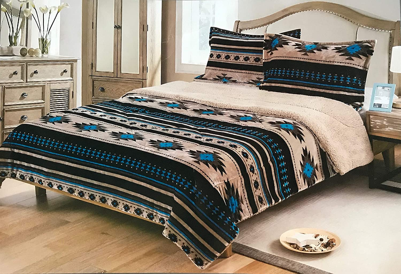 Nu Trendz Signature Southwest Design (Navajo Print) King Size 3pcs Set 17426 (Light Brown/Turquoise)