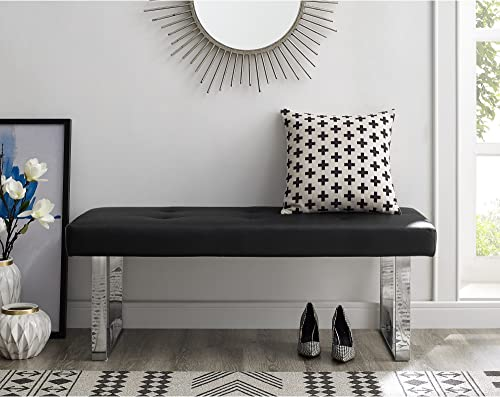 Oliver Black PU Leather Bench – Stainless Steel Legs Tufted Living-Room, Entryway, Bedroom Inspired Home