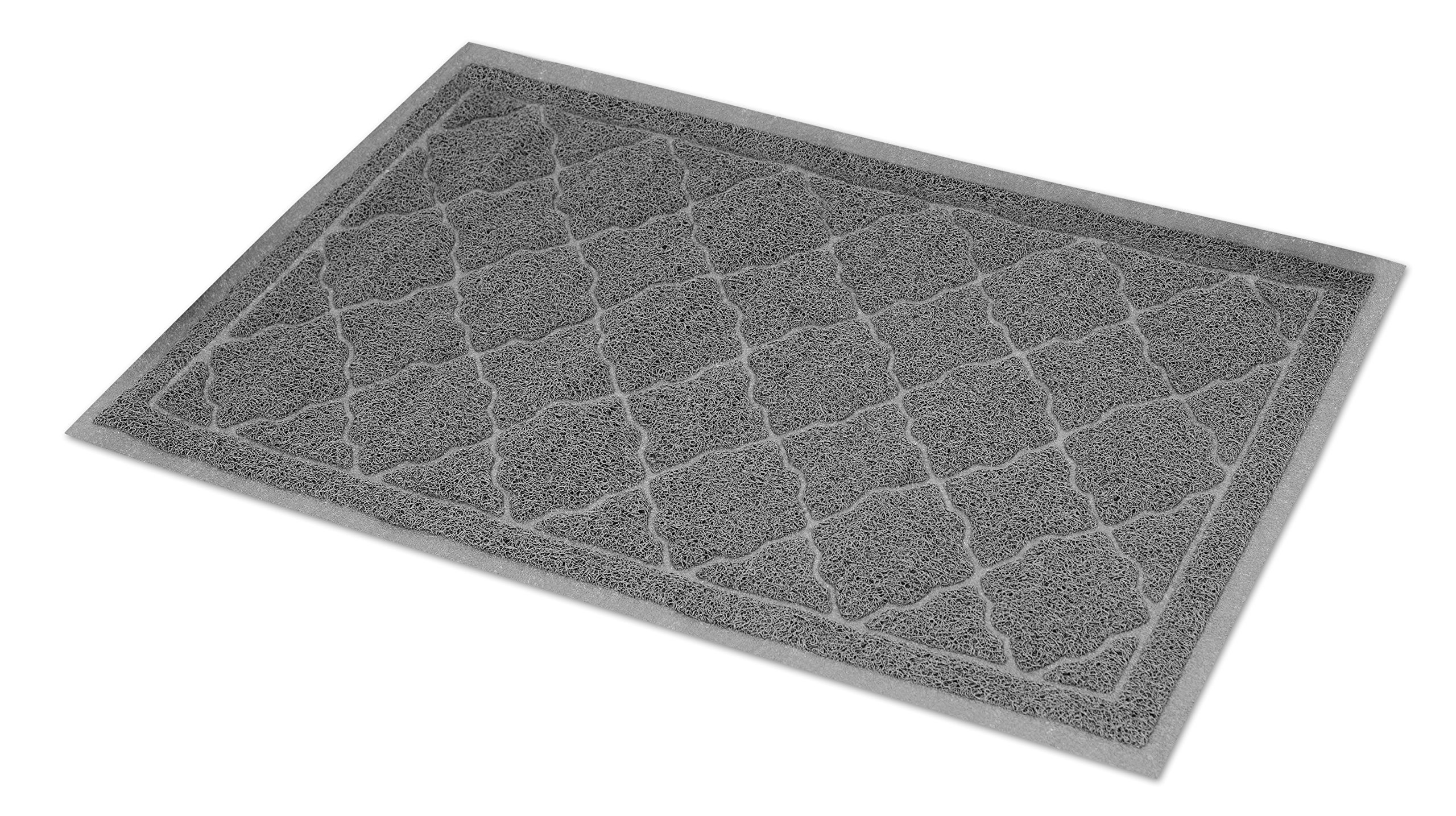Internet's Best Cat Litter Mat | 35 x 24 | Large | Kitty Litter Mat and Trap | Crystal Catcher Mat and Scatter Control | Soft Paw Touch | Works with Litter Box Cat Houses | Gray