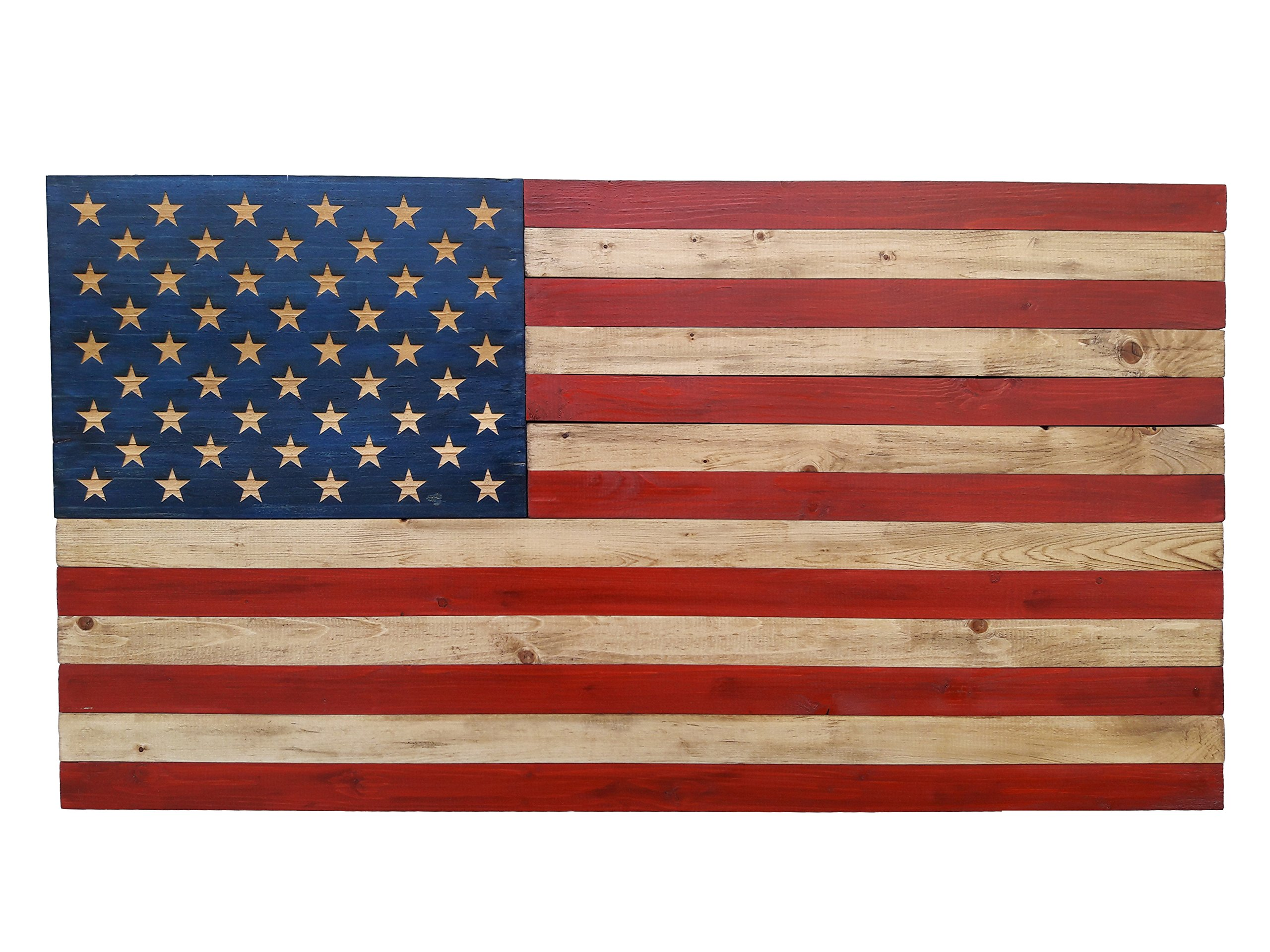 Rustic Engraved Wood Sign - 37'' x 19.5'' - American Flag