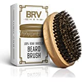 Beard Brush - Pure Boar Bristles - First Cut Firm Hog Hair Brush Natural Solid Wood Body - Works With Your Beard Oil and…