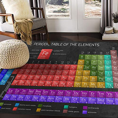 ALAZA Periodic Table of The Elements Chemistry Area Rug Rugs for Living Room Bedroom 7 x5