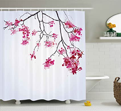Amazon.com: Ambesonne Japanese Decor Shower Curtain by, Cherry ... on princess bathroom set, lavender bathroom set, sugar skull bathroom set, lilac bathroom set, japanese bathroom set, peach bathroom set, plum bathroom set, black bathroom set, royal bathroom set, white bathroom set, pink bathroom set, daisy bathroom set, coral bathroom set, cupcake bathroom set, peacock bathroom set, amber bathroom set, paris bathroom set, halloween bathroom set, ocean bathroom set, rainbow bathroom set,