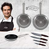 San Ignacio PK1789 3pc sartenes 18,20,24 cms, Aluminio prensado, inducción, con Set 4 Cuchillos de Cocina, Acero…