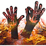 "Yuanming 2018 New Style BBQ Grilling Cooking Gloves, 932°F Heat Resistant Kitchen Oven Mitts Gloves, 1 Pair 14"" Long for Extra Forearm Protection Top BBQ Accessories (Black/Red)"
