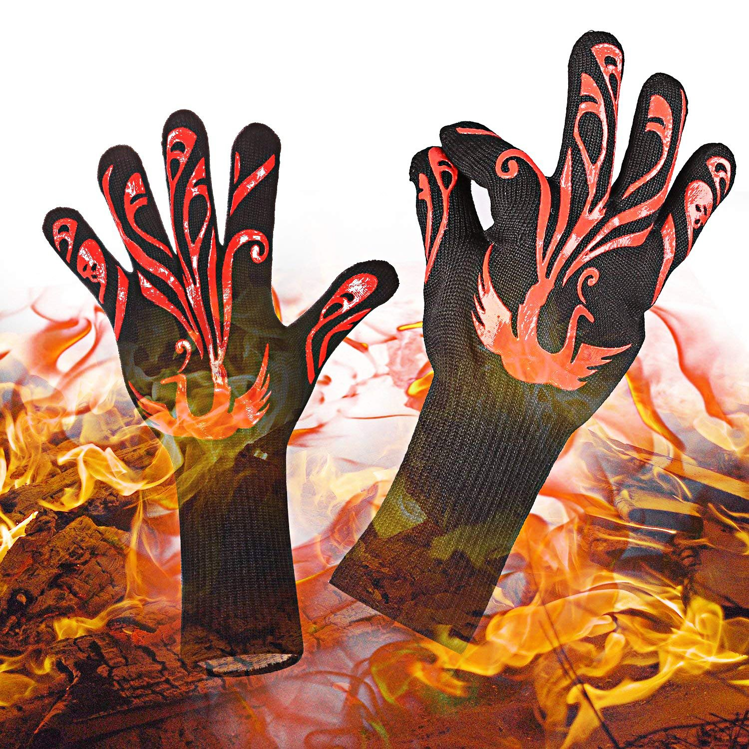 Yuanming 2018 BBQ Grilling Cooking Gloves, 932°F Heat Resistant Kitchen Oven Mitts Gloves, 1 Pair 14'' Long Extra Forearm Protection Top BBQ Accessories (Black/Red)