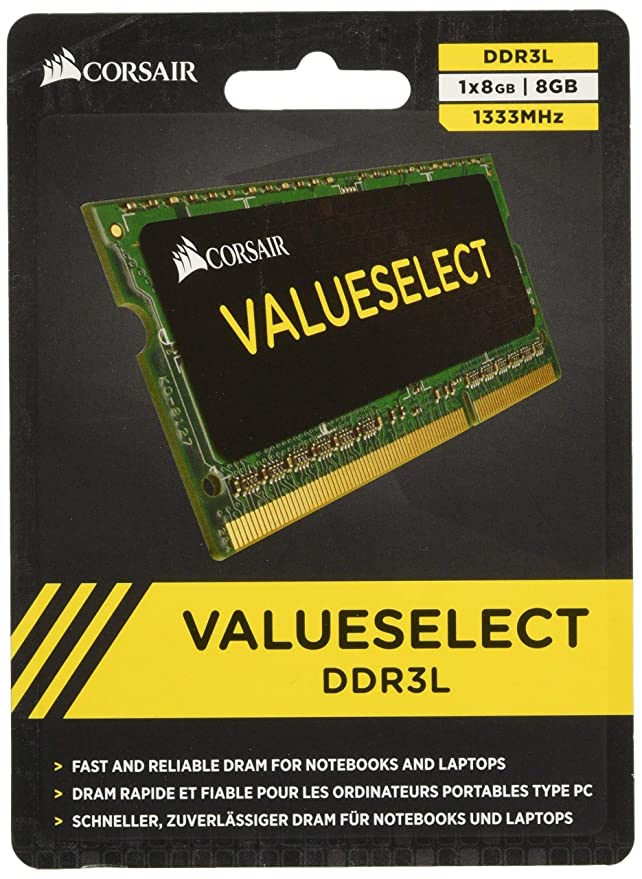 13 opinioni per Corsair CMSO8GX3M1C1333C9 Value Select Modulo di Memoria da 8 GB, DDR3L, 1333