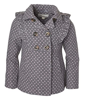 9693c79b9992 Cremson Girls  Wool Blend Hooded Ruffle Winter Dress Pea Coat Jacket -  Charcoal Dots (