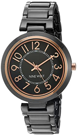 Amazon.com  Nine West Women s Easy To Read Dial Gunmetal Bracelet ... 447c3d9c53