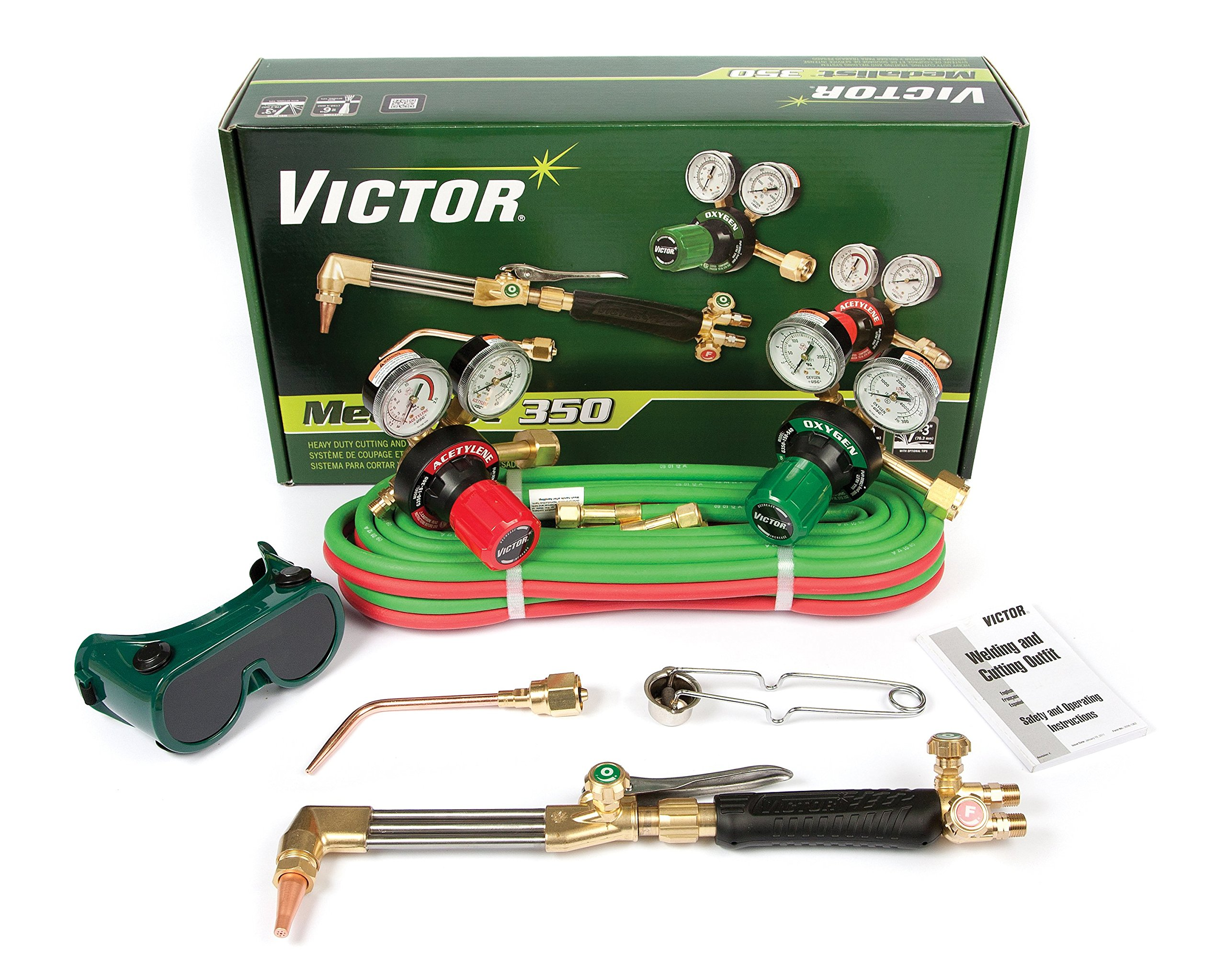 Victor Technologies 0384-2691 Medalist 350 System Heavy Duty Cutting System, Acetylene Gas Service, G350-15-300 Fuel Gas Regulator by ESAB