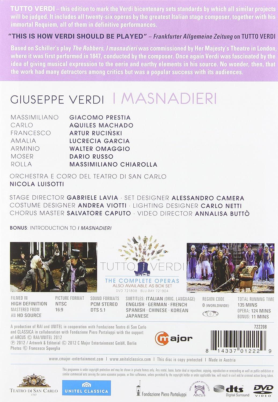 amazoncom verdi i masnadieri orchestra e coro del teatro di san carlo verdi prestia machado rucinski movies u0026 tv