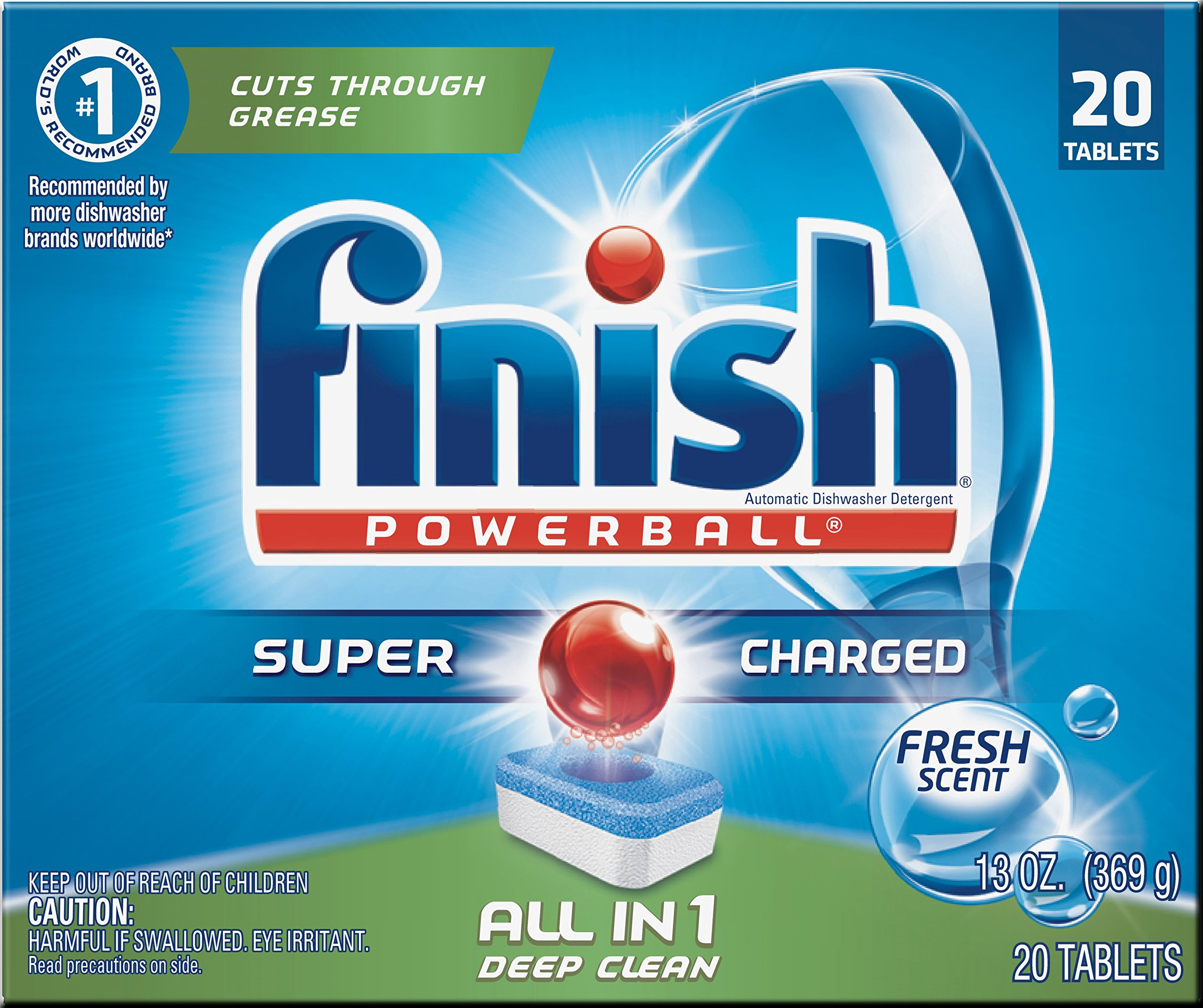 Finish All In 1 Powerball, Fresh 20 Tabs, Dishwasher Detergent Tablets (Pack of 8)