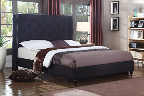 Best Master Furniture Vero Tufted Wingback Platform Bed, Queen, Black
